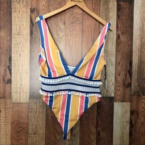 Tularosa Evia Pom Pom one piece swimsuit NWT